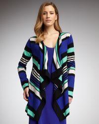 Adrienne Vittadini - Striped Cardigan Cobaltmenthol Womens - Lyst