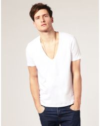 Asos T-Shirt With Deep V Neck white - Lyst