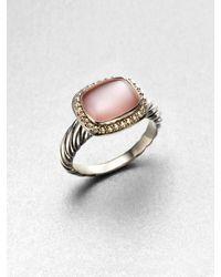 David Yurman Diamond Accented Pink Motherofpearl Ring - Lyst