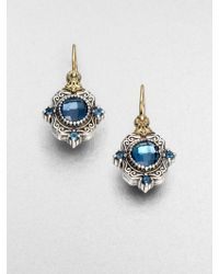 Konstantino Semiprecious Multistone Sterling Silver 18k Gold Drop Earrings - Lyst