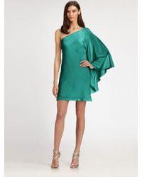 Nicole Miller Asymmetrical Silk Mini Dress - Lyst