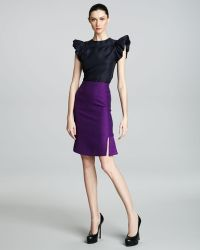 Saint Laurent Fitandflare Skirt Purple - Lyst