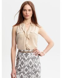 Banana Republic Heritage Silk Ruffle Shirt - Lyst