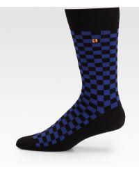 BOSS Orange - Checked Cottonblend Socks - Lyst