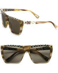 Lanvin Square Snake-Print Leather-Trim Sunglasses - Lyst