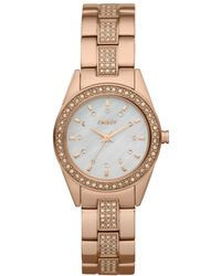 DKNY Womens Rose Gold Ion Plated Stainless Steel Bracelet - Lyst