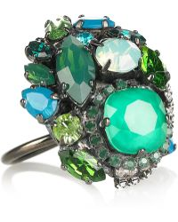 Erickson Beamon Bossa Nova Silverplated Swarovski Crystal Ring green - Lyst
