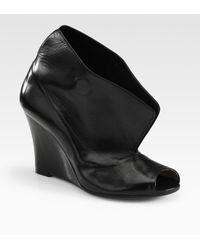 Maison Margiela Leather Wedge Peep Toe Ankle Boots - Lyst