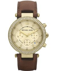 Michael Kors Women'S Chronograph Parker Chocolate Brown Leather Strap Watch 39Mm Mk2249 - Lyst