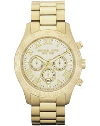 Michael Kors Men'S Chronograph Layton Gold-Tone Stainless Steel Bracelet Watch 45Mm Mk8214 - Lyst