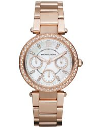 Michael Kors Women'S Chronograph Mini Parker Rose Gold-Tone Stainless Steel Bracelet Watch 33Mm Mk5616 - Lyst