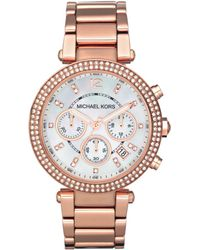 Michael Kors Women'S Chronograph Parker Rose Gold-Tone Stainless Steel Bracelet Watch 39Mm Mk5491 - Lyst