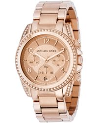 Michael Kors Women'S Chronograph Blair Rose Gold-Tone Stainless Steel Bracelet Watch 41Mm Mk5263 pink - Lyst