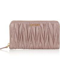 Miu Miu Matelassé Leather Wallet - Lyst