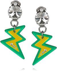 Miu Miu Plexiglass Crystal Lightning Bolt Clip Earrings - Lyst