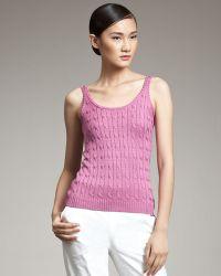 Ralph Lauren Black Label - Silk Cable-knit Tank - Lyst