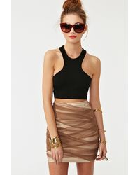 Nasty Gal Wrapped Up Skirt brown - Lyst