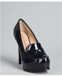 Pour La Victoire Midnight Patent Leather Larkin Platform Heeled Loafers - Lyst