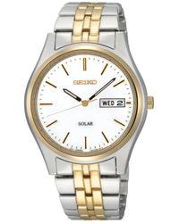 Seiko Men'S Solar Two Tone Stainless Steel Bracelet 37Mm Sne032 - Lyst