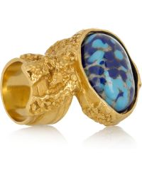 Saint Laurent Arty Gold-Plated Glass Ring blue - Lyst