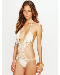Free People Crochet Fringe One Piece - Lyst