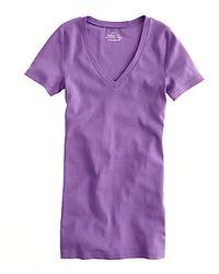 J.Crew Perfectfit Vneck Tee purple - Lyst