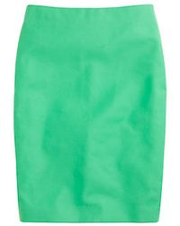 J.Crew No 2 Pencil Skirt in Doubleserge Cotton green - Lyst