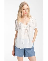 Rebecca Taylor Moroccan Embroidered Cutout Top - Lyst