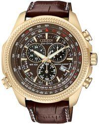 Citizen Men'S Chronograph Eco-Drive Dark Brown Leather Strap Watch 43Mm Bl5403-03X - Lyst