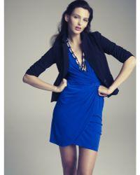 Eliza J Short Sleeve Faux Wrap - Lyst