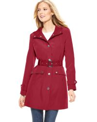 London Fog Raincoat Hooded Colored Belted - Lyst