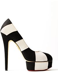 Charlotte Olympia Striped Canvas Platform Pump - Lyst