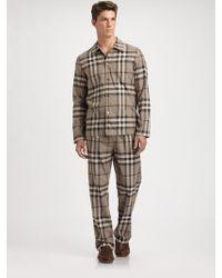 Burberry Check Pajama Set brown - Lyst