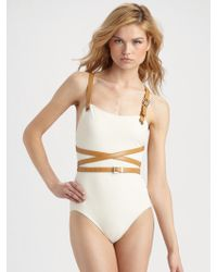 Michael Kors Belted Wraparound Onepiece Swimsuit - Lyst