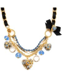 Betsey Johnson Blue Crystal Heart Necklace - Lyst