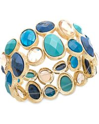 Hue - Gold Tone Multi Stone Blue Stretch Bracelet - Lyst