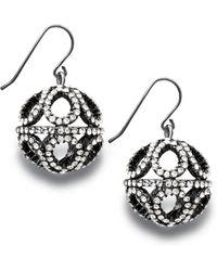 Eci Large Pave Crystal Filgree Drop Earrings - Lyst
