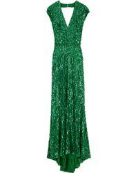 Elie Saab Cap Sleeve Vneck Beaded Dress  green - Lyst
