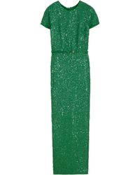 Elie Saab Fully Sequined Long Dress - Lyst