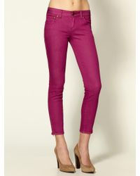 Free People Cropped Color Skinny Jeans - Lyst