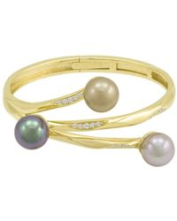 Hue - 18k Gold Over Sterling Silver Multicolor Organic Man Made Pearl Bangle - Lyst