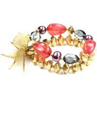 Jones New York - Gold Tone Double Row Beaded Stretch Bracelet - Lyst