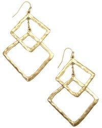 Rachel Roy - Gold Tone Double Diamond Drop Earrings - Lyst