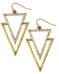 Rachel Roy | Gold Tone Triangle Drop Earrings | Lyst