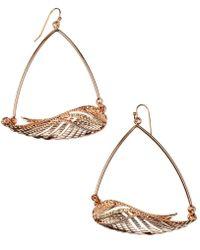 Rachel Roy | Rose Gold Tone Topaz Glass Wing Hoop Earrings | Lyst