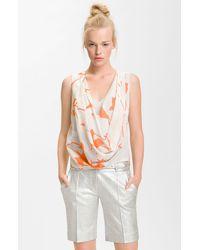 Diane von Furstenberg Rina Draped Print Silk Top - Lyst