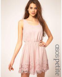ASOS Collection Asos Petite Exclusive Crochet Hem Mini Dress with Back Detail - Lyst
