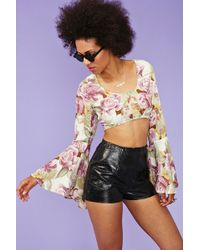 Nasty Gal Fluttered Super Crop - Lyst