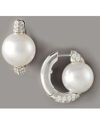Assael - Pearl & Diamond Huggie Earrings - Lyst