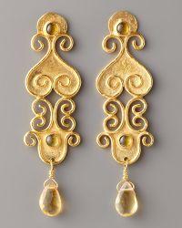 Stephanie Anne - Textured Gold & Citrine Drop Earrings - Lyst